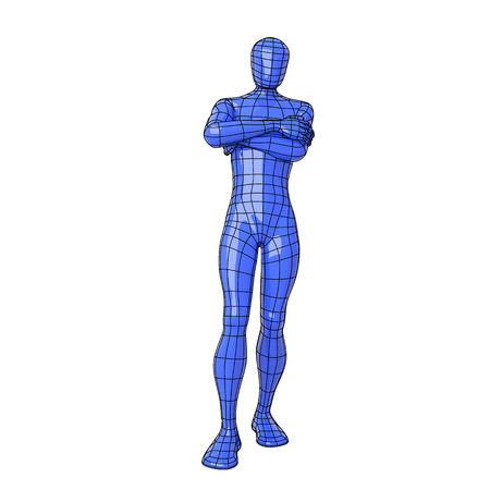 arms folded: Futuristic wire mesh human figure expecting for something with arms folded.