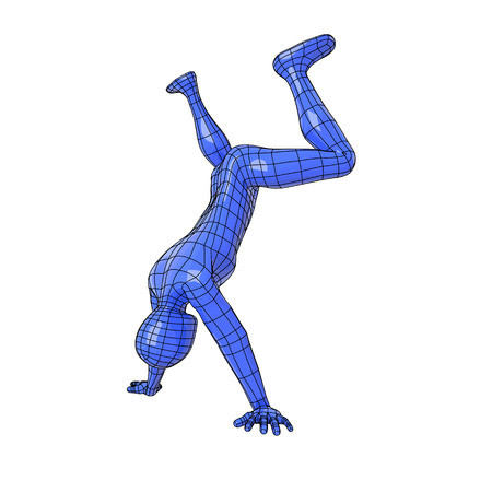 Futuristic wire mesh human figure in handstand about to make a somersault. gymnastics, exercise. Illustration
