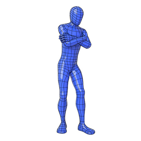 Futuristic wire mesh human figure expecting for something with arms folded.