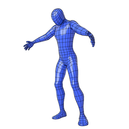 Futuristic wire mesh human figure about to embrace something or somebody with open arms and looking down. Illustration