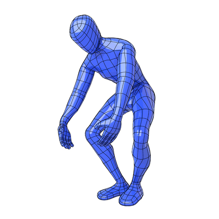 Futuristic wire mesh human figure lifting something weight with big effort. vector illustration