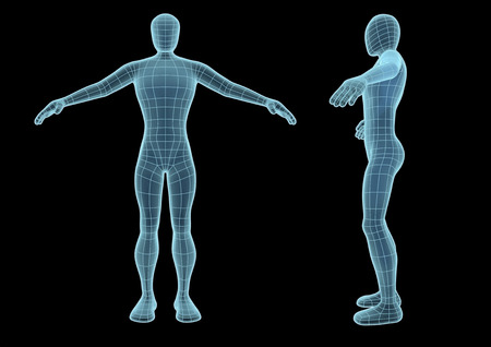 wireframe human figure in blue over a black background. Model seems to be semi transparent as if it was an hologram. futuristic vector illustration