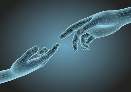 futuristic wireframe human hands pointing one each other with index finger. Modern science, technology and creationism metaphoric concept. Vector illustration Vettoriali