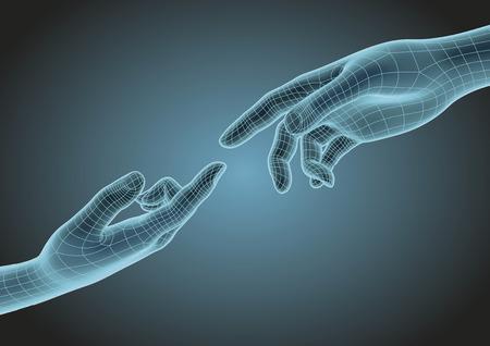 wireframe futurista mãos humanas apontando um ao outro com o dedo indicador. Conceito metafórico da ciência moderna, da tecnologia e do criacionismo. Ilustração vetorial