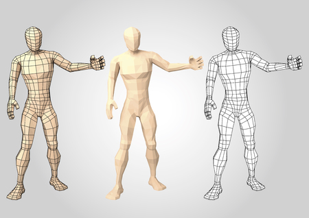 Human figure featuring or presenting something. Wireframe. Lowpoly. Wire mesh. Vector illustration Illustration