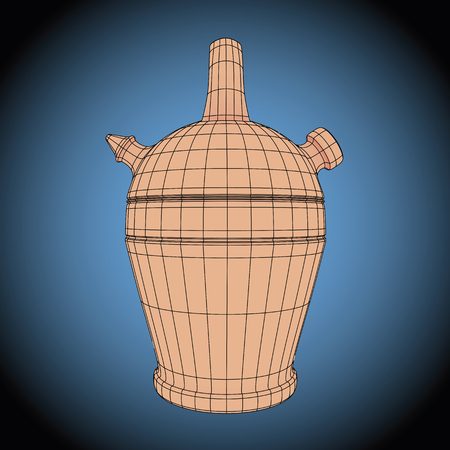 wireframe futuristic typical spanish botijo. Traditional Spanish porous clay container designed to contain water. Also known as bucaro. vector illustration