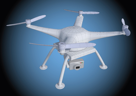 Wireframe illustration of a drone or quadcopter. Equipped with a camera to spy and take photos. vector file