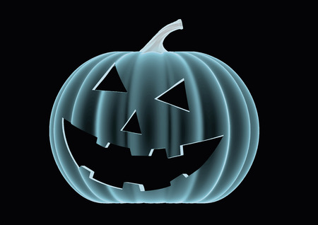 halloween pumpkin in blue over a black background. Model seems to be semi transparent as if it was an hologram or radiography. vector illustration Illustration