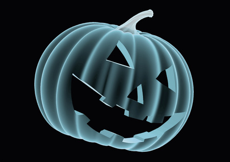 halloween pumpkin in blue over a black background. Model seems to be semi transparent as if it was an hologram or radiography. vector illustration Çizim