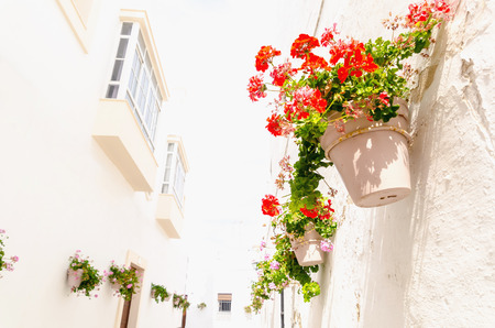 window view: Plantpots with red an pink geranium hanging on the wall of a house in a typical street of Rota, Cadiz, Andalusia, Spain Stock Photo