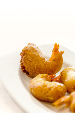 Detail on battered shrimps. Typical spanish tapa in Cadiz, Andalusia, Spain