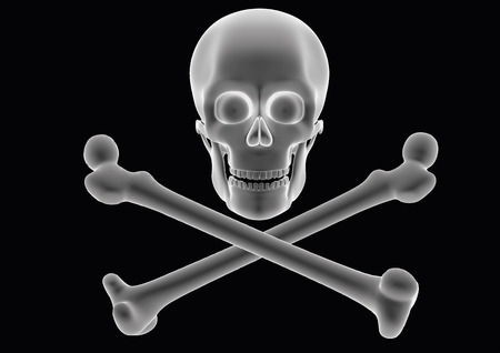 Pirate flag with skull and cross bones over a black background. Jolly roger. Model seems to be semi transparent as if it was an hologram or radiography. vector illustration. Çizim
