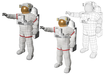 wireframe astronaut in space suite equipped with extravehicular mobility unit standing and pointing to something with his hand.