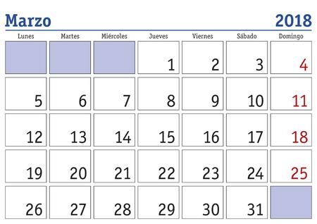 3 월 한 달에 2018 스페인어에서 벽 달력입니다. Marzo 2018. Calendario 2018 일러스트