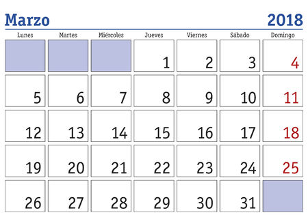 March month in a year 2018 wall calendar in spanish. Marzo 2018. Calendario 2018 Illustration