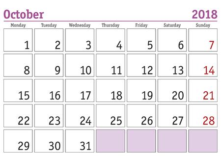 Simple digital calendar for october 2018. Vector printable calendar. Monthly scheduler. Week starts on Monday. English calendar Illustration