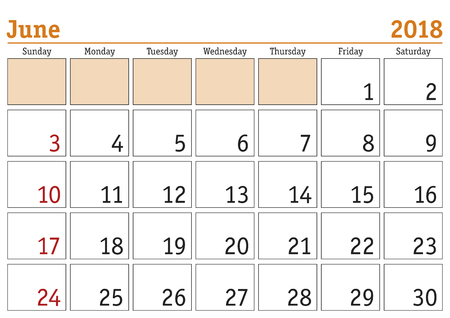 weekly: Simple digital calendar for June 2018. Vector printable calendar. Monthly scheduler. Week starts on Sunday. English calendar