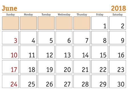 Simple digital calendar for June 2018. Vector printable calendar. Monthly scheduler. Week starts on Sunday. English calendar