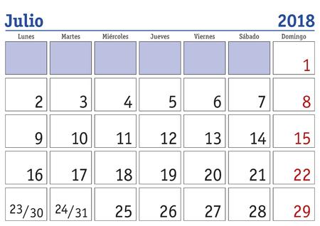 scheduler: July month in a year 2018 wall calendar in spanish. Julio 2018. Calendario 2018