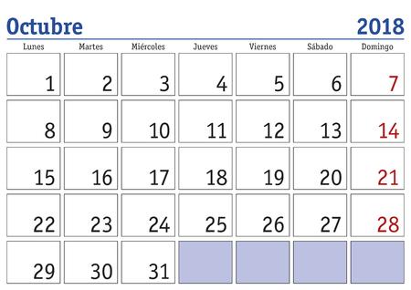 Mois octobre dans un calendrier de l & # 39 ; année 2018 calendrier à bogdan khmelnitsky 2021 calendario 2018 Banque d'images - 86625487