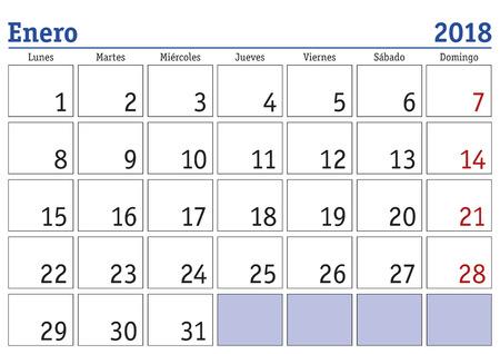 Januar-Monat in einem Jahr 2018 Wandkalender auf Spanisch. Enero 2018. Kalender 2018 Standard-Bild - 86625488
