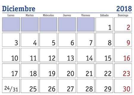 Décembre mois de l'année 2018 calendrier mural en espagnol. Diciembre 2018. Calendario 2018 Banque d'images - 86625492