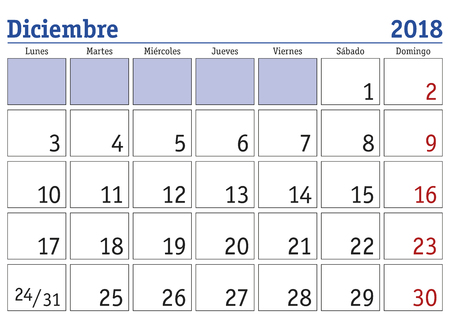 December month in a year 2018 wall calendar in spanish. Diciembre 2018. Calendario 2018