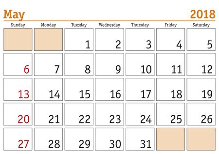 Simple digital calendar for May 2018. Vector printable calendar. Monthly scheduler. Week starts on Sunday. English calendar Illustration