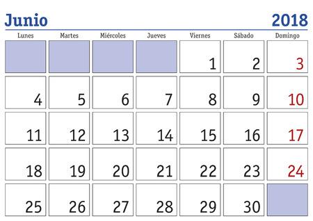 June month in a year 2018 wall calendar in spanish. Junio 2018. Calendario 2018