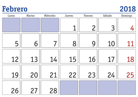 february month in a year 2018 wall calendar in spanish febrero 2018 calendario 2018