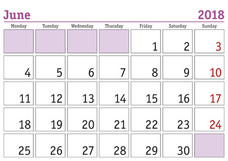 calendar month june 2018