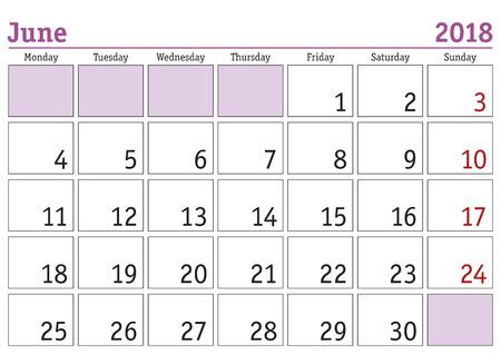 weekly: Simple digital calendar for june 2018. Vector printable calendar. Monthly scheduler. Week starts on Monday. English calendar