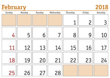 Simple digital calendar for February 2018. Vector printable calendar. Monthly scheduler. Week starts on Sunday. English calendar