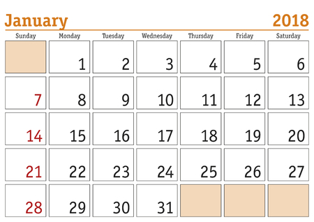 Simple digital calendar for January 2018. Vector printable calendar. Monthly scheduler. Week starts on Sunday. English calendar