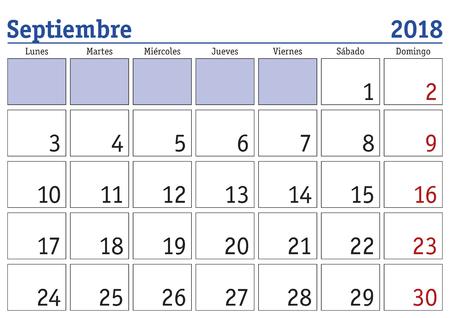 スペイン語で 2018 年壁掛けカレンダーの 9 月の月。2018 年 9 月。カレンダー 2018