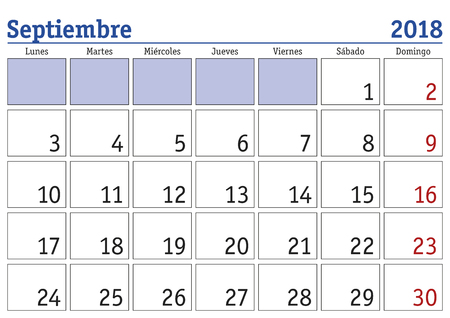 September month in a year 2018 wall calendar in spanish. Septiembre 2018. Calendario 2018
