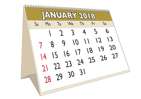 2018 January month in a desk calendar in english. Week starts on Sunday