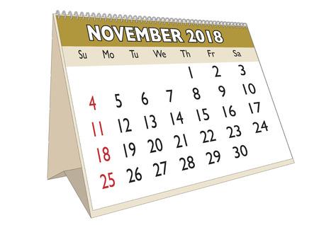 2018 November month in a desk calendar in english. Week starts on Sunday Illustration