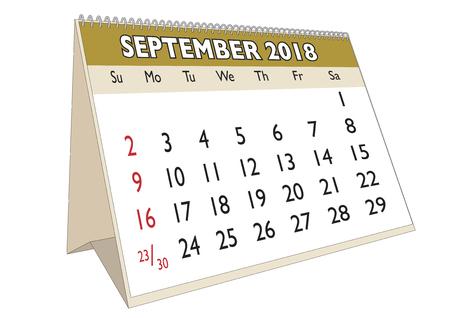 2018 September month in a desk calendar in english. Week starts on Sunday Illustration