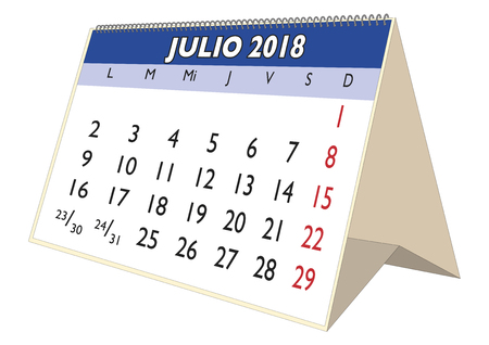 July sheet in an spanish desk Calendar for year 2018. Monthly planner and scheduler. Julio 2018