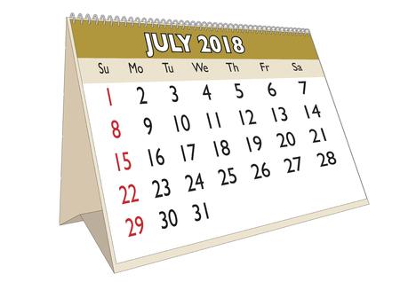 2018 July month in a desk calendar in english. Week starts on Sunday Illustration
