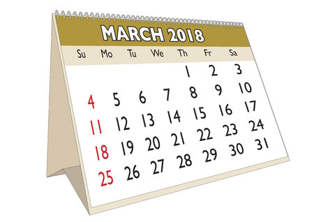 2018 March month in a desk calendar in english. Week starts on Sunday