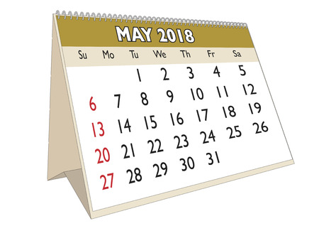 2018 May month in a desk calendar in english. Week starts on Sunday