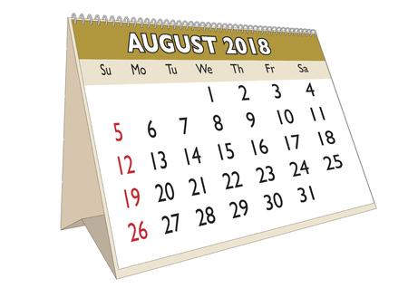 scheduler: 2018 August month in a desk calendar in english. Week starts on Sunday