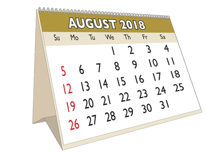 2018 August month in a desk calendar in english. Week starts on Sunday