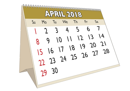 2018 April month in a desk calendar in english. Week starts on Sunday