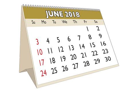 2018 June month in a desk calendar in english. Week starts on Sunday Illustration