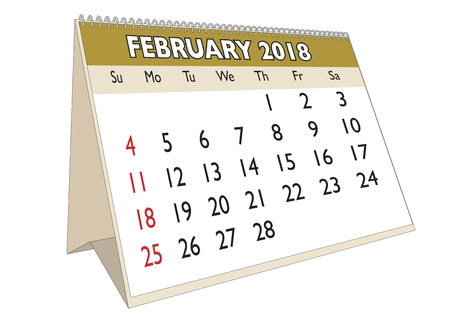 2018 February month in a desk calendar in english. Week starts on Sunday