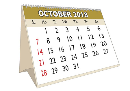 2018 October month in a desk calendar in english. Week starts on Sunday