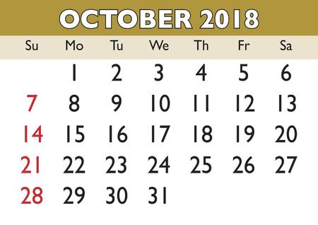 2018 calendar October month.